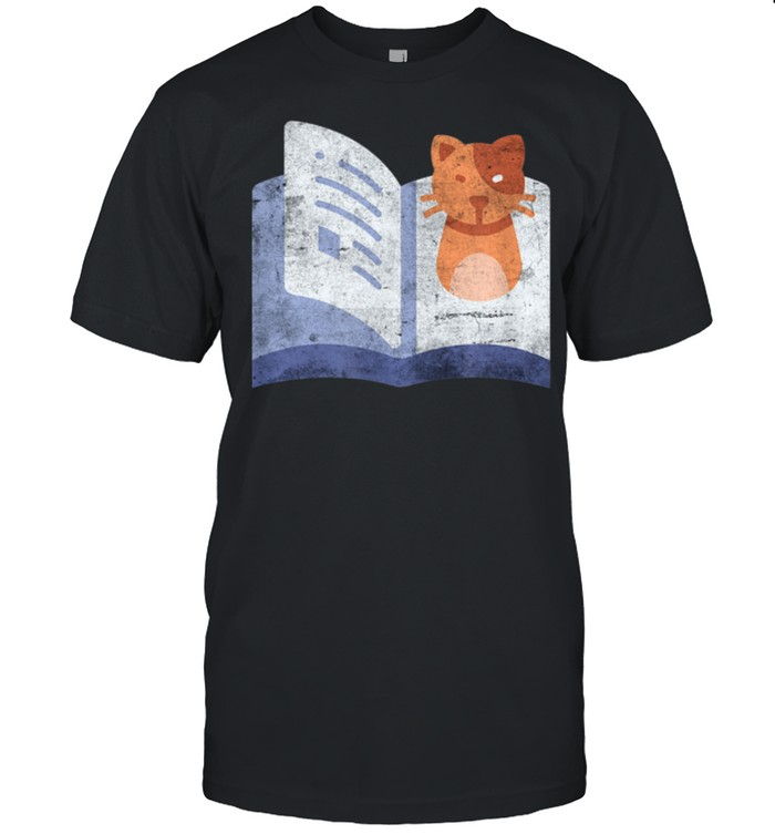 Distressed Book And Cat Reading Introvert shirt Classic Men's T-shirt