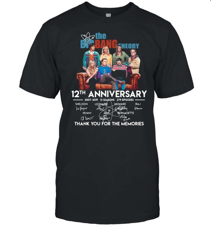 The Big Bang Theory 12th Anniversary 2007 2019 Signatures Thank You For The Memories  Classic Men's T-shirt