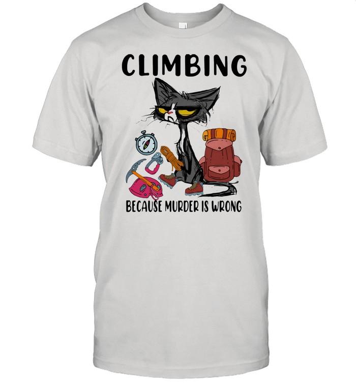 Climbing Because Murder Is Wrong Cat  Classic Men's T-shirt