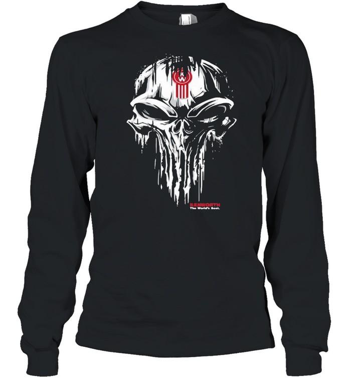 Punisher Skull With Kenworth Car Logo Long Sleeved T-shirt
