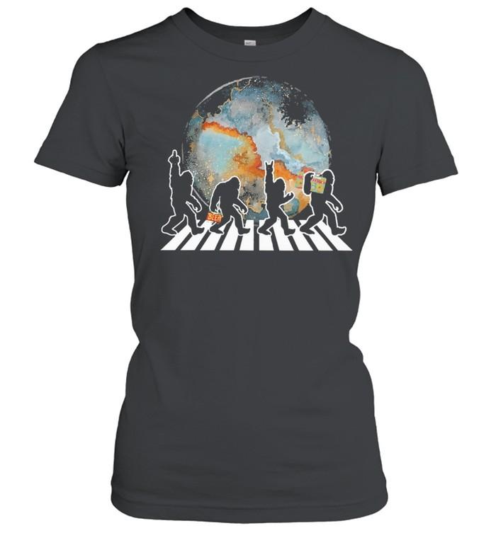 Bigfoot moon abbey road shirt Classic Women's T-shirt
