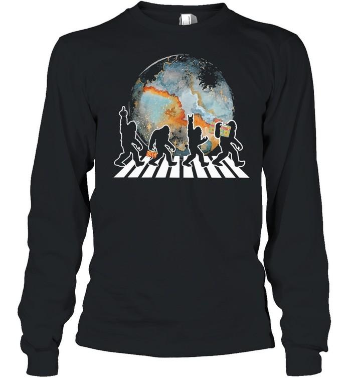 Bigfoot moon abbey road shirt Long Sleeved T-shirt