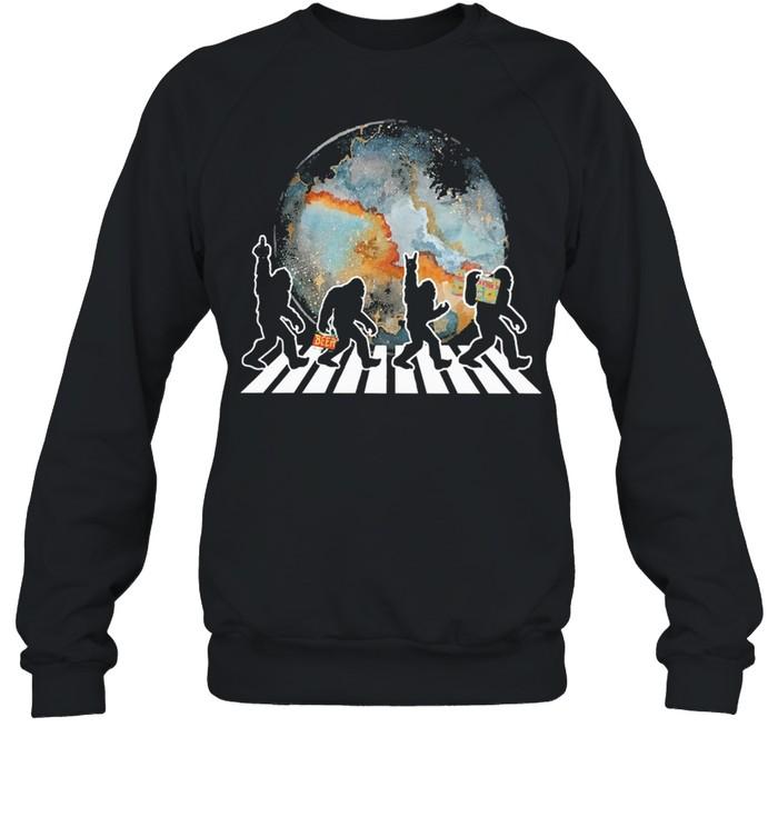 Bigfoot moon abbey road shirt Unisex Sweatshirt