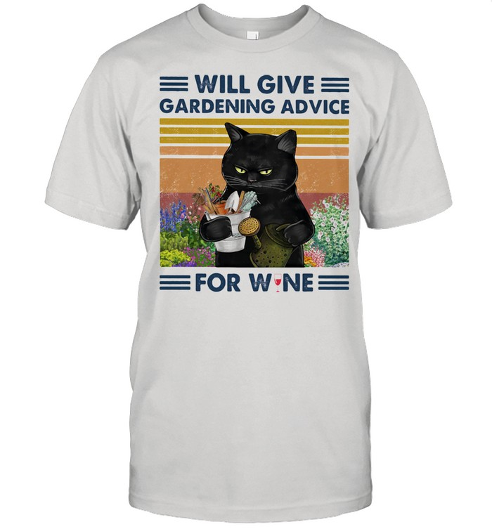 Will Give Gardening Advice For Wine Cat Vintage  Classic Men's T-shirt
