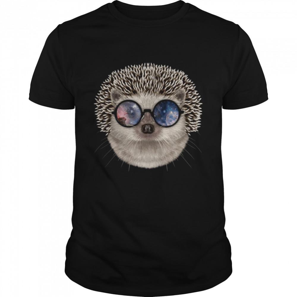 Hedgehog wearing Space Galaxy Cosmos Sunglass  Classic Men's T-shirt