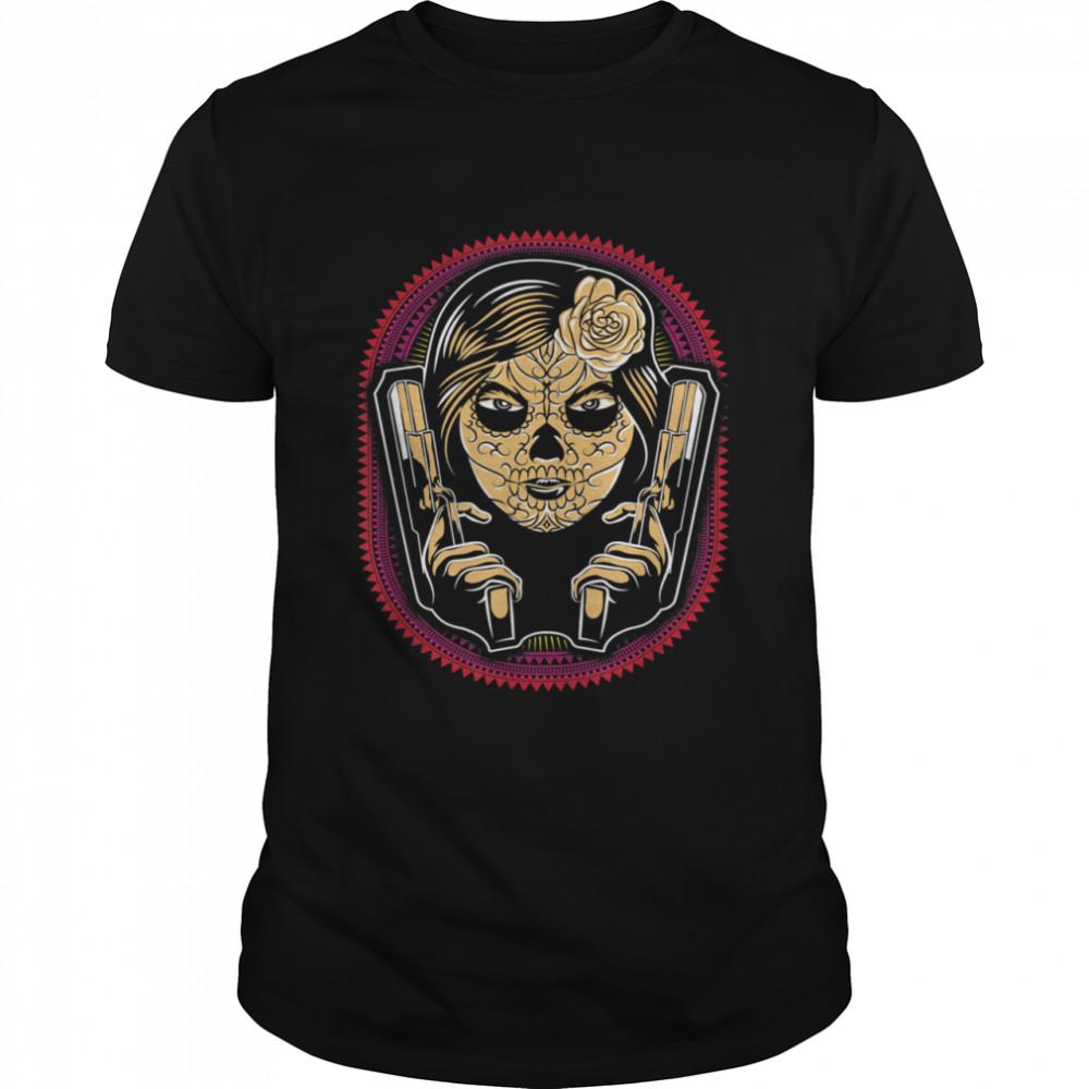 Sugar Skull Lady Holding Guns  Classic Men's T-shirt