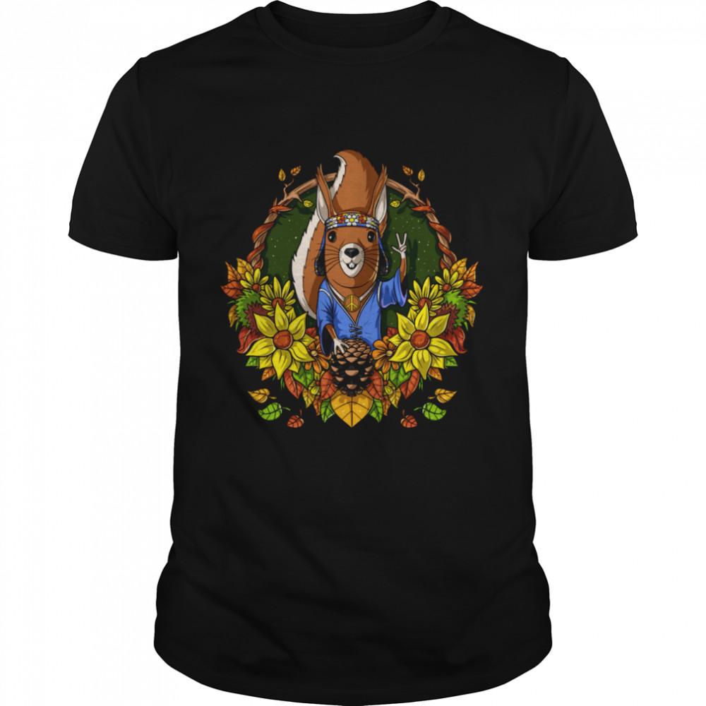 Squirrel Hippie Sunflowers Forest Animal Autumn Nature  Classic Men's T-shirt
