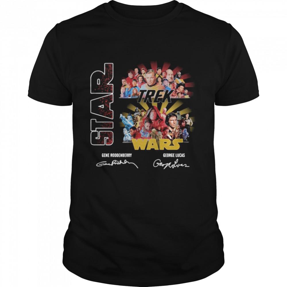 Star Trek And Star Wars Roddenberry George Lucas Signatures T-shirt Classic Men's T-shirt