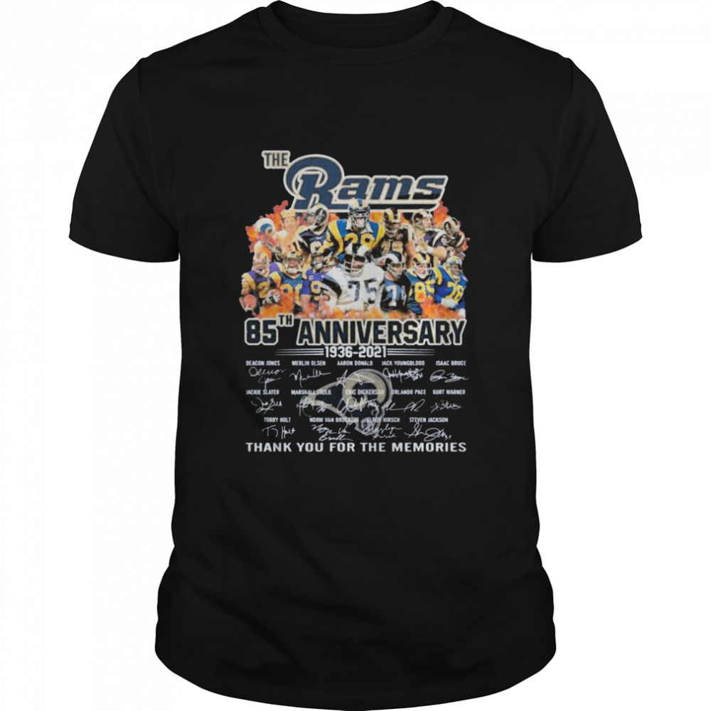 The Los Angeles Rams Team Football Players 85th Anniversary 1936 2021 Signatures Thank You For The Memories shirt Classic Men's T-shirt