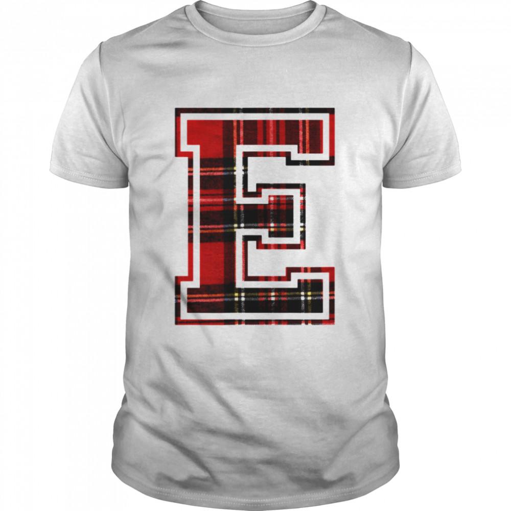 Letter E First Monogram Initial Tartan Print  Classic Men's T-shirt