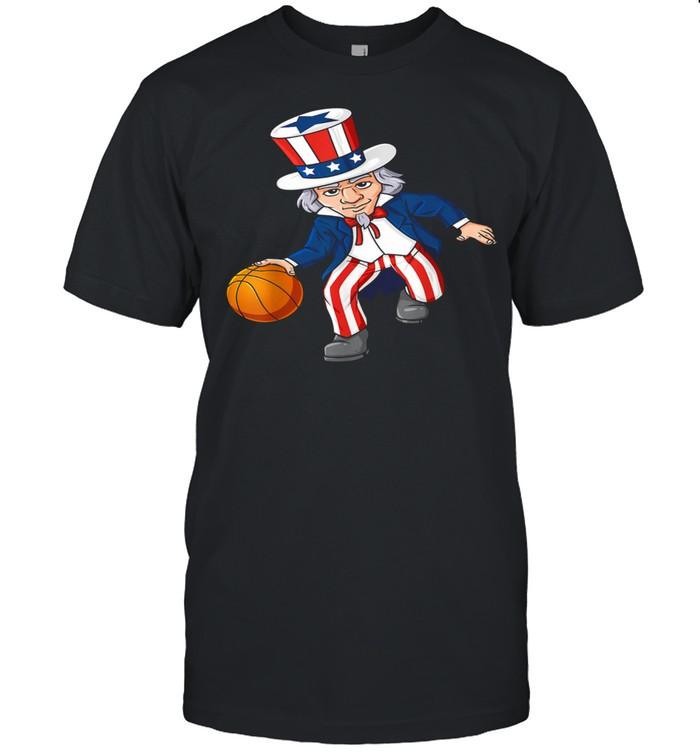 Basketball Uncle Sam 4th Of July Boysns Dribble  Classic Men's T-shirt