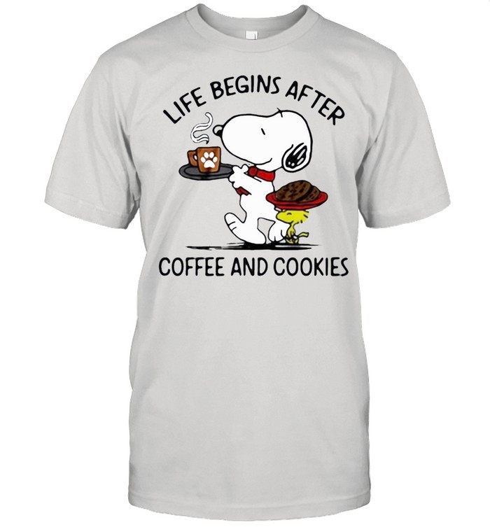 snoopy and woodstock life begins after coffee and cookies shirt Classic Men's T-shirt