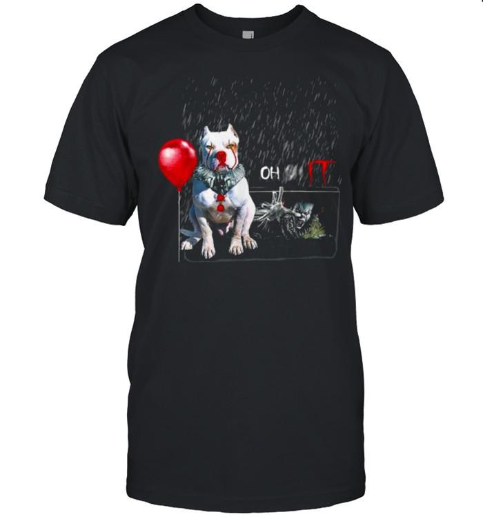 Pit Bull Dog Clown Oh It Rain Balloon Funny Halloween T- Classic Men's T-shirt