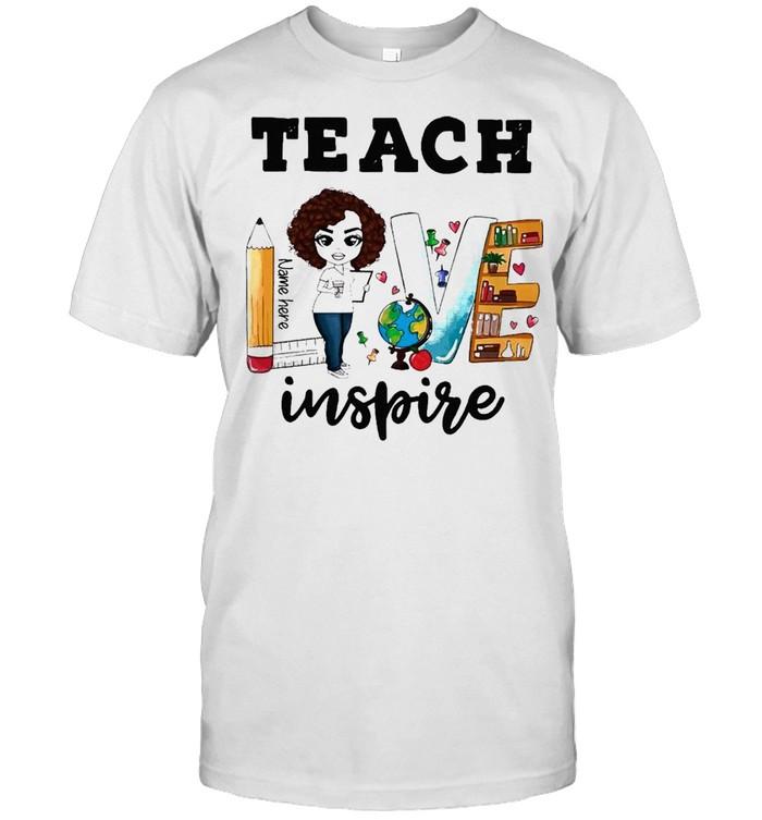 Teacher Love Name Here Inspire Back to School shirt Classic Men's T-shirt