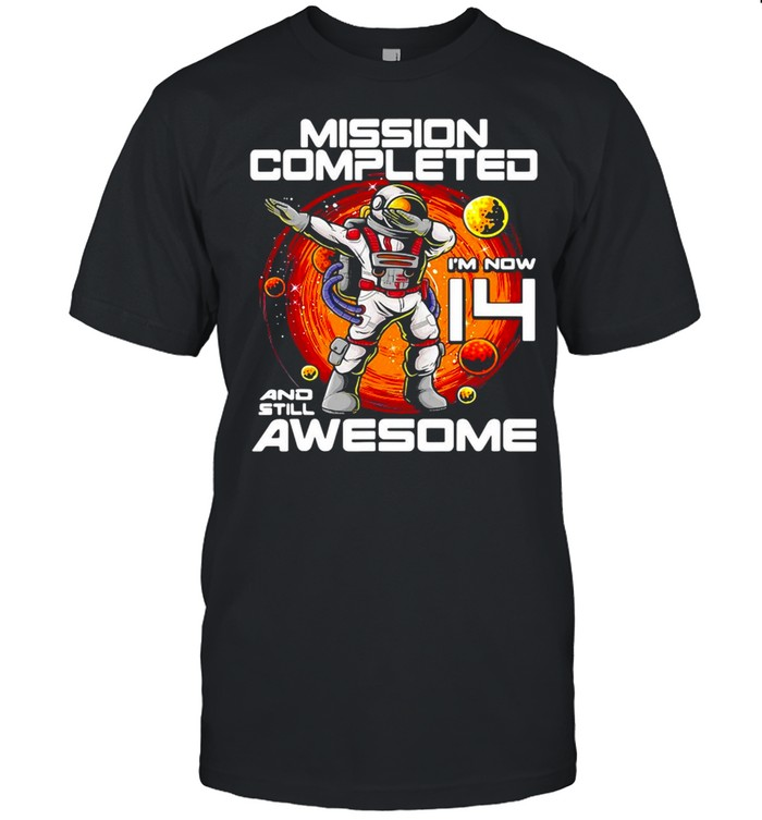 Outer Space Birthday Mission Completed I'm Now 14 And Still Awesome T-shirt Classic Men's T-shirt