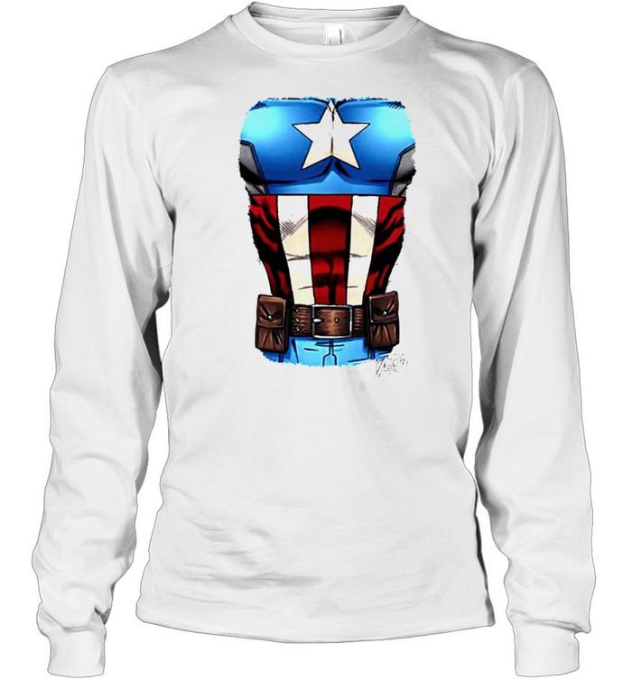 Captain America Chest flag shirt Long Sleeved T-shirt