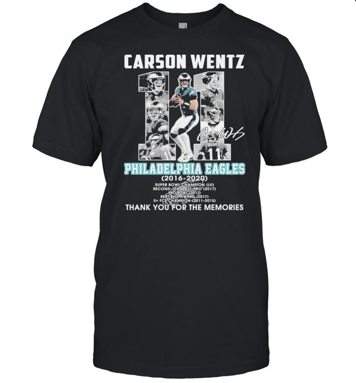 carson wentz 11 philadelphia eagles 2016 2020 thank you for the memories shirt Classic Men's T-shirt