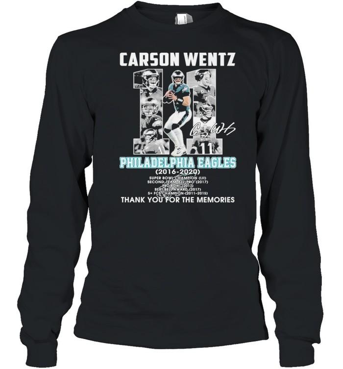 carson wentz 11 philadelphia eagles 2016 2020 thank you for the memories shirt Long Sleeved T-shirt