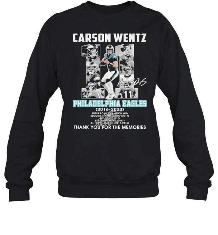 carson wentz 11 philadelphia eagles 2016 2020 thank you for the memories shirt Unisex Sweatshirt