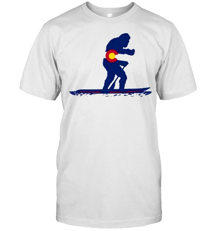Big Foot Silhouette Paddling On Paddle Board Colorado Flag T- Classic Men's T-shirt