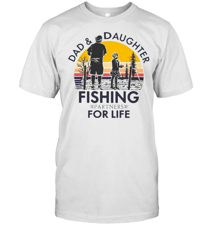 Dad And Daughter Fishing Partners For Life Vintage Retro T-shirt Classic Men's T-shirt