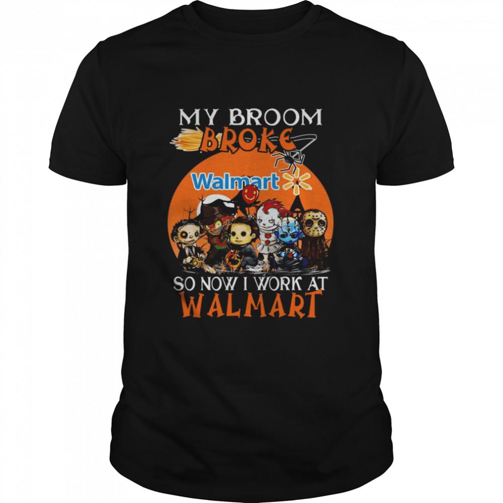 Chibi Horror characters my broom broke so now I work at Walmart Halloween shirt